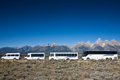 Alltrans buses agains the Grand Tetons